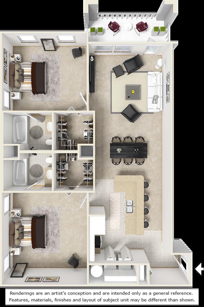 Reserve 2 bedrooms 2 bathrooms floor plan