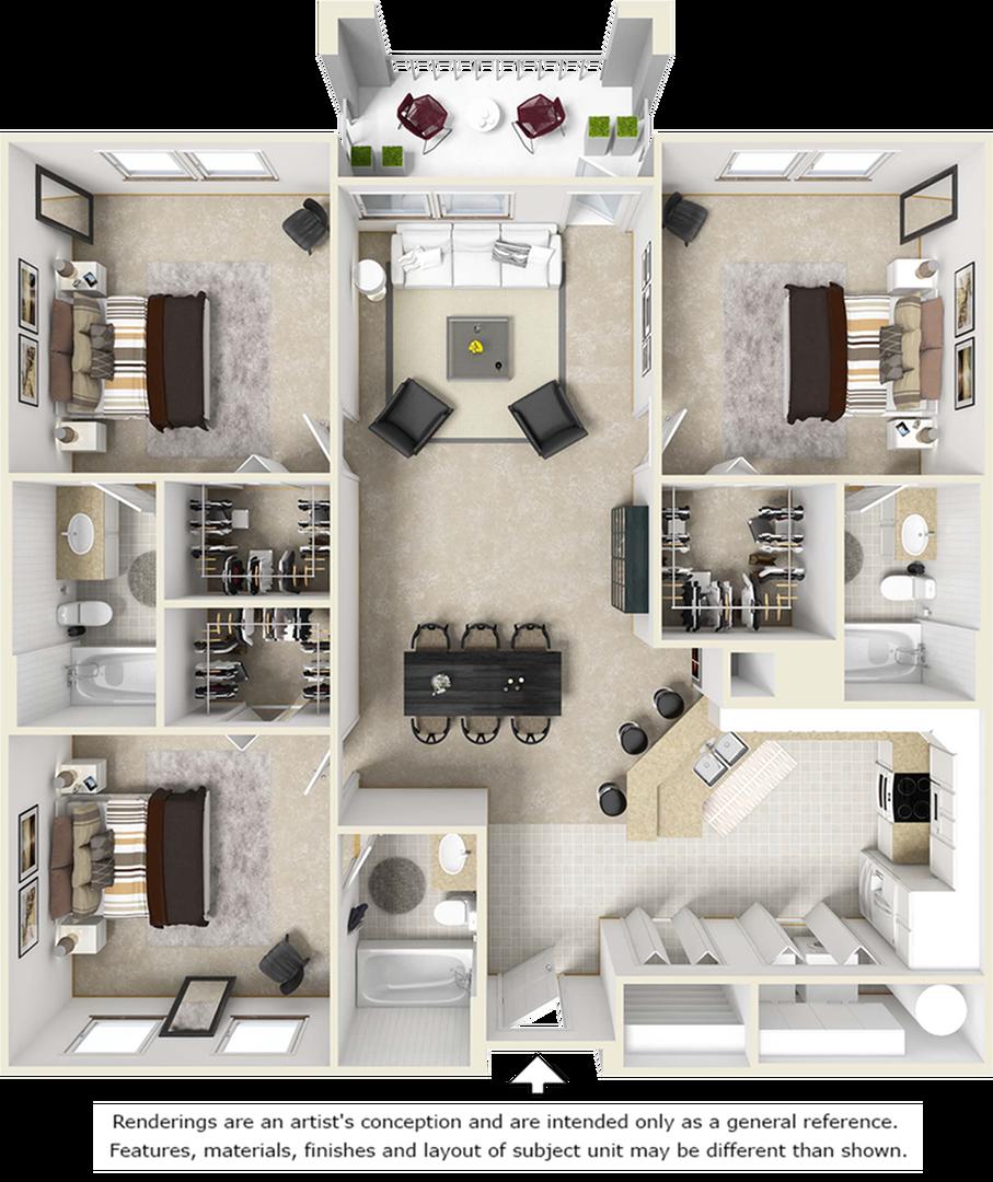 Retreat 3 bedrooms 3 bathrooms floor plan