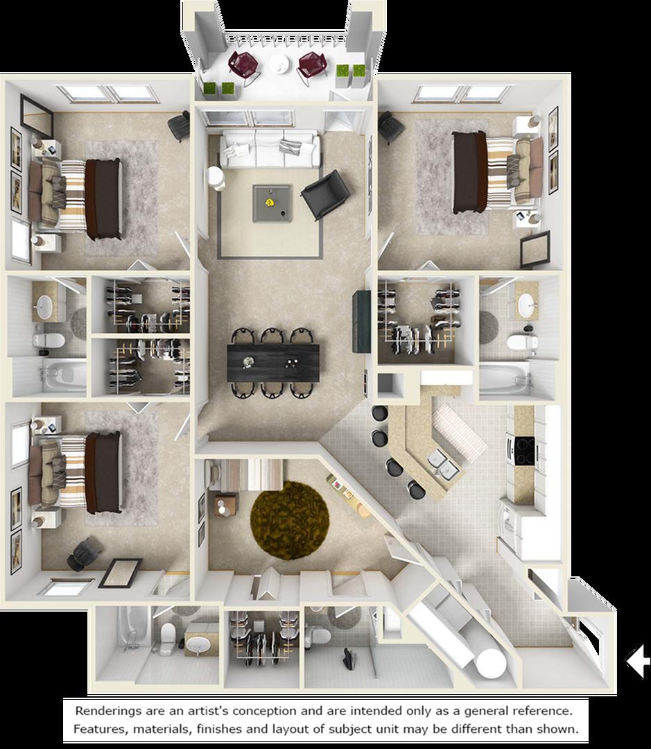 Sanctuary 4 bedrooms 4 bathrooms floor plan