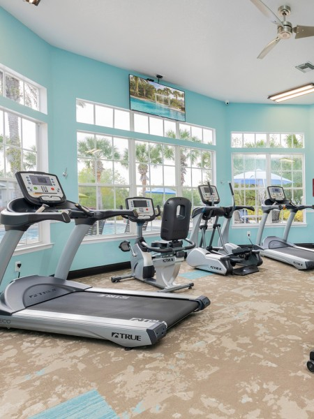 gym with windows, treadmills, and cycling machine