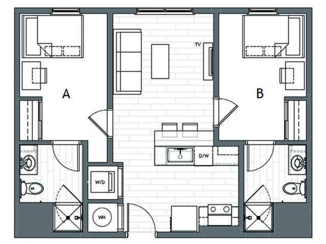 2x2 Premium 2 Bed Apartment Student Housing Evolve Bloomington