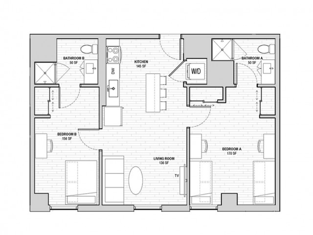 2x2 Penthouse Shared B Fewer Than 5 Spaces Remaining