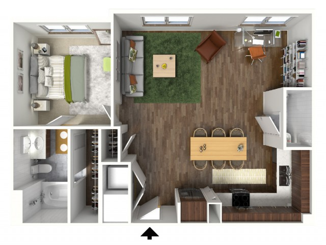 A5 Floorplan (3D) - Example with Furniture