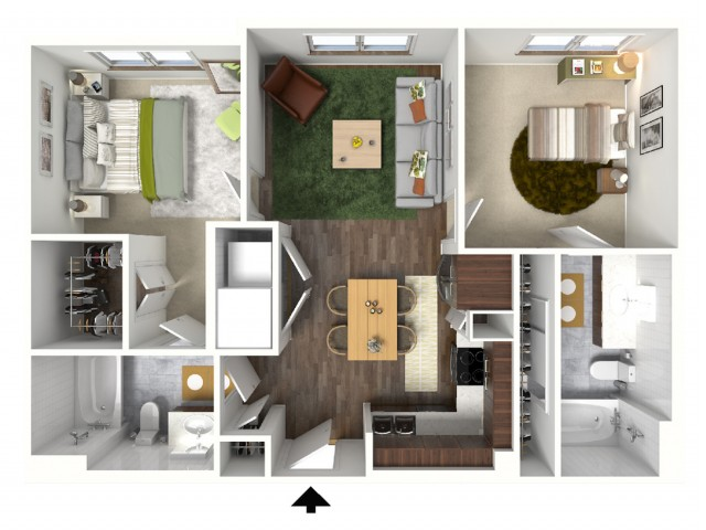 B1 Floorplan (3D) - Example with Furniture