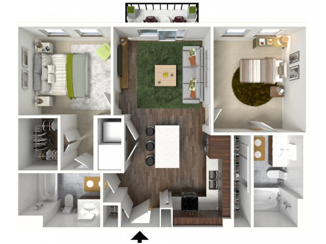 B2 Floorplan (3D) - Example with Furniture