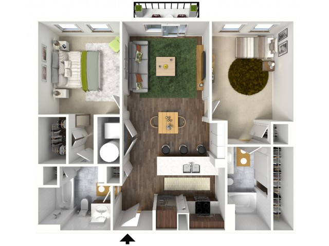 B4 Floorplan (3D) - Example with Furniture