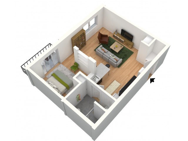 Flyball 1-bedroom Apartment Floor PlanPhotos