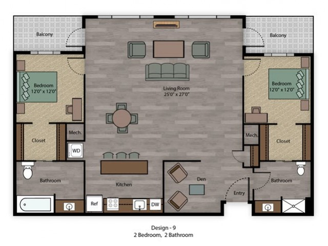 Two Bedroom, Two Bathroom City Scape 2B Layout