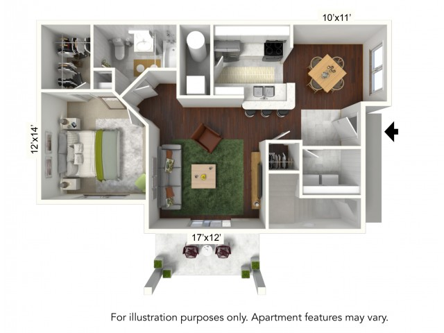 1 Bedroom Floor Plan | Luxury Apartments Buffalo | Autumn Creek Apartments