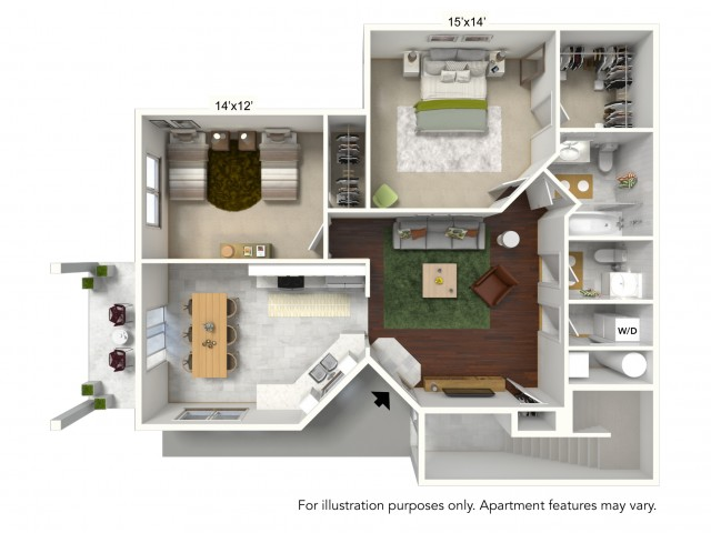 2 Bedroom Floor Plan | Luxury Apartments In Buffalo Ny | Autumn Creek Apartments