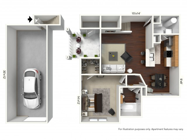 1 Bedroom Floor Plan | Apartments For Rent In Williamsville Ny | Renaissance Place Apartments 4