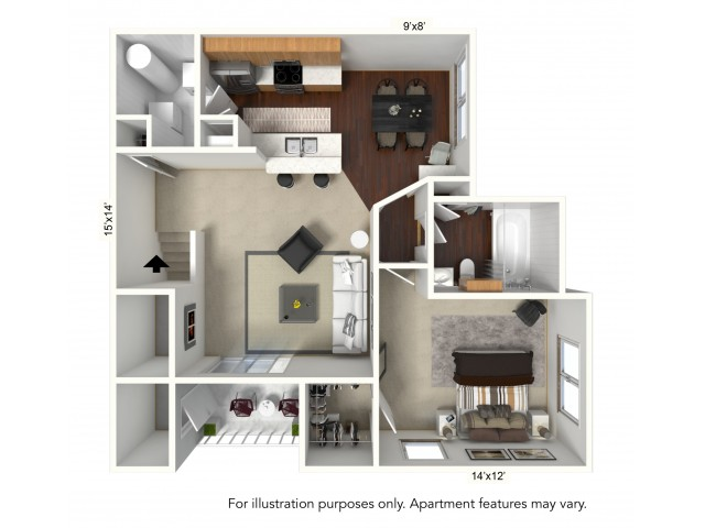 1 Bedroom Floor Plan | Apartments For Rent In Williamsville Ny | Renaissance Place Apartments 2