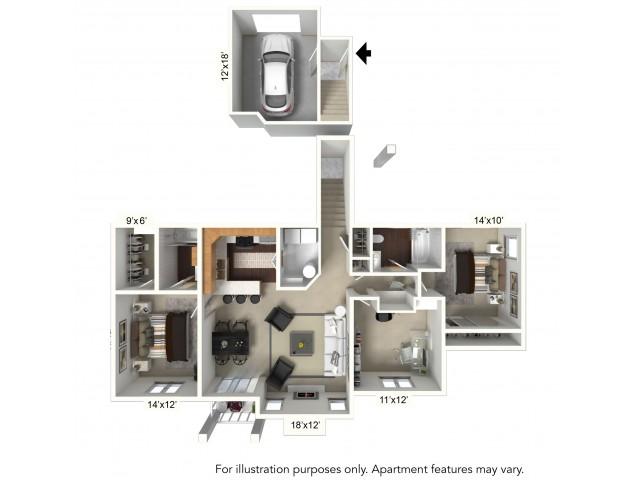 Floor Plan 19 | Williamsville Ny | Renaissance Place Apartments