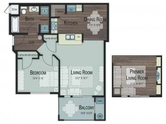 1 bedroom 1 bathroom Ash floor plan