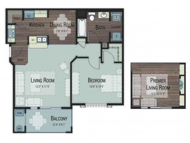 1 bedroom 1 bathroom Aspen Premier floor plan
