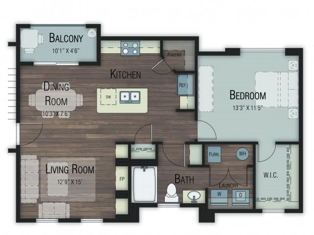 1 bedroom 1 bathroom Alder floor plan