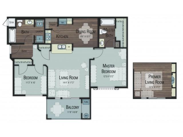 2 bedroom 2 bathroom Balsam floor plan