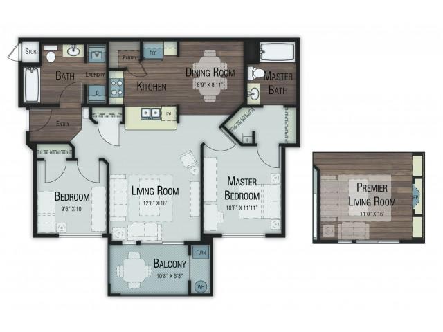 2 bedroom 2 bathroom Birch Premier floor plan