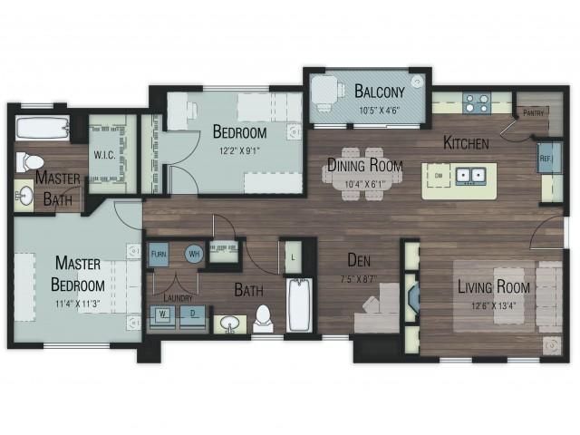 2 bedroom 2 bathroom Boxelder floor plan
