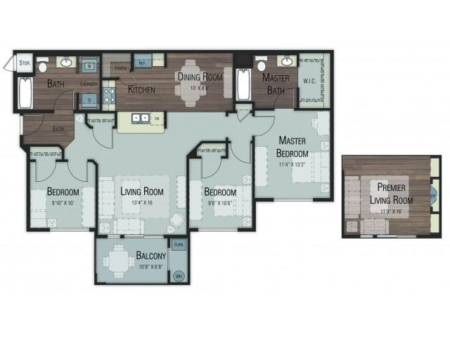 3 bedroom 2 bathroom Cedar floor plan