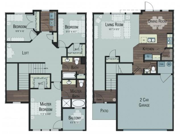 3 bedroom 2.5 bathroom Cottonwood Select floor plan