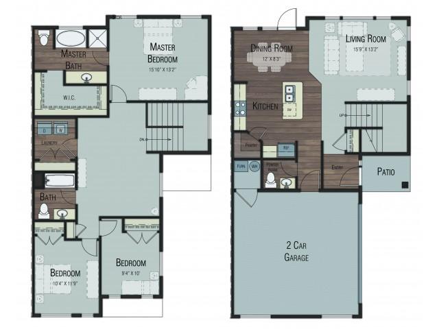 3 bedroom 2.5 bathroom Cypress Select floor plan