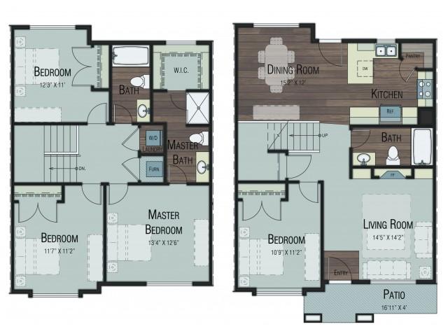 4 bedroom 3 bathroom Douglas Premier floor plan