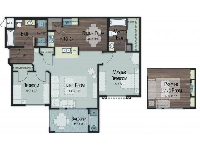 2 bedroom 2 bathroom Balsam Select floor plan