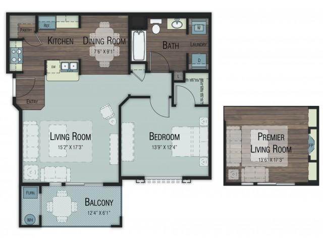 1 bedroom 1 bathroom Aspen Select floor plan