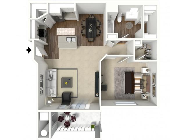 1 Bed 1 Bath Arches Floor Plan