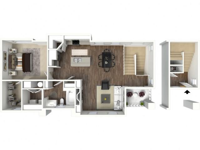 1 bedroom 1 bathroom Anasazi floor plan