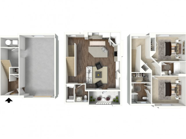 2 Bed 2.5 Bath Brigham Floor Plan