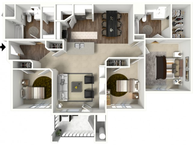3 Bed 2 Bath Cedar Floor Plan