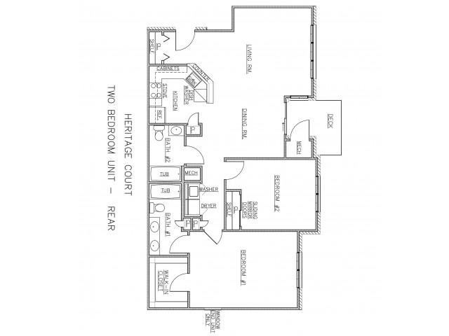 2 Bedroom Floor Plan | Apartments In Ewing NJ For Rent | Heritage Court
