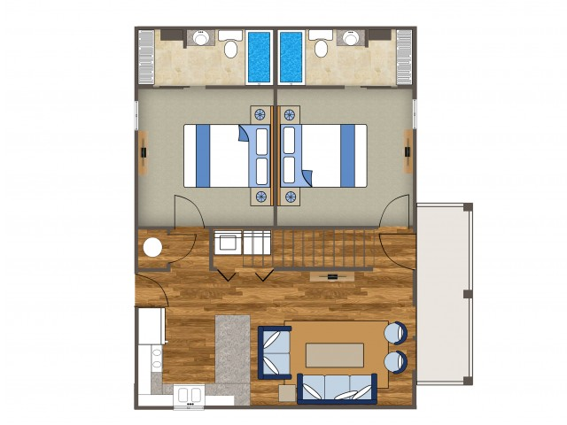 This is a beautiful 4 bedroom layout with each room having its own private bathroom. Floorplans could vary slightly for each house.
