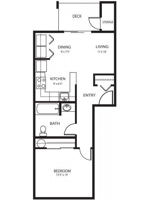 1 bedroom 1 bath, 562 sq ft