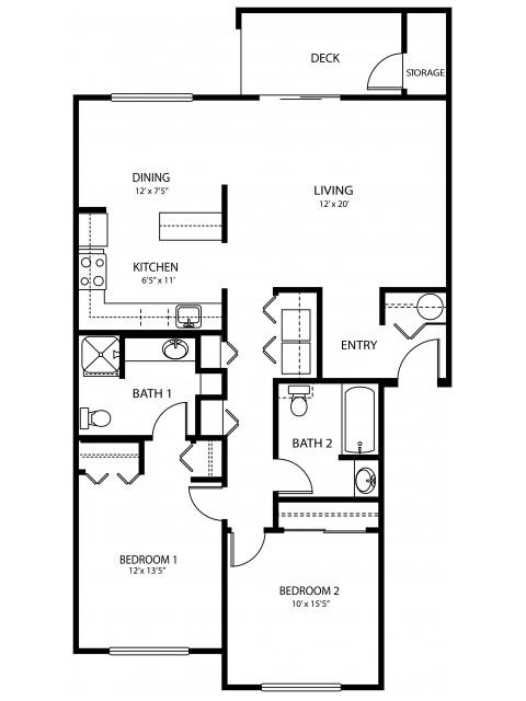 2 bedroom 2 bath, 1058 sq ft
