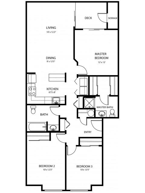 3 bedroom 2 bath, 1185 sq ft