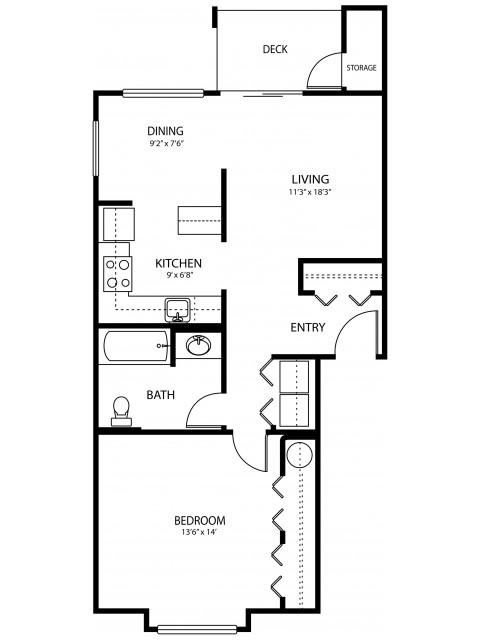 1 bedroom 1 bath, 720 sq ft