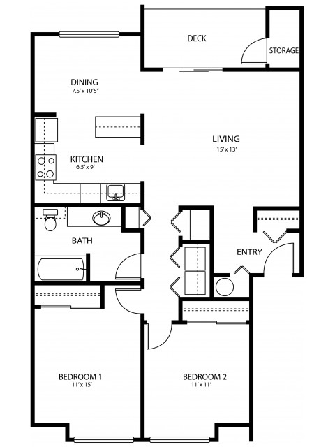 2 bedroom 1 bath, 958 sq ft