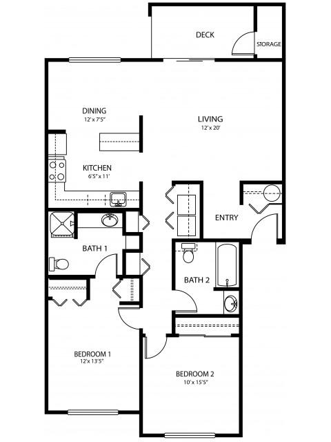 2 bedroom 2 bath, 1085 sq ft