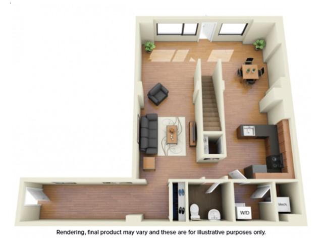 2 Bdrm Floor Plan | howard university student housing | Vie at University Towers
