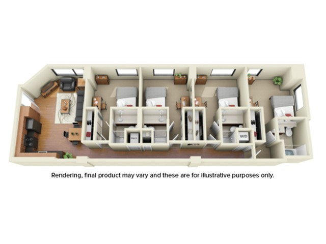 4 Bedroom Floor Plan | Umd Apartments | Vie at University Towers