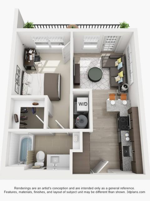 1 Bedroom Floor Plan | texas state off campus housing | Vie Lofts at San Marcos