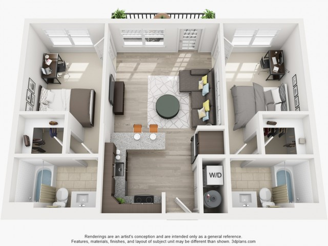2 Bedroom Floor Plan | Apartments Near Tsu | Vie Lofts at San Marcos
