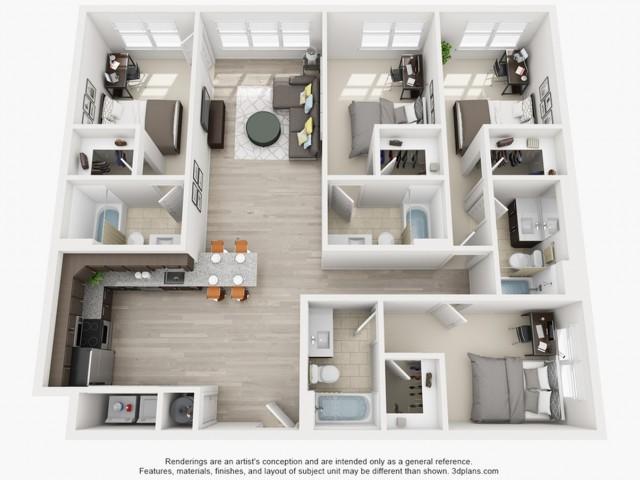 Floor Plan 4 | apartments near texas state | Vie Lofts at San Marcos