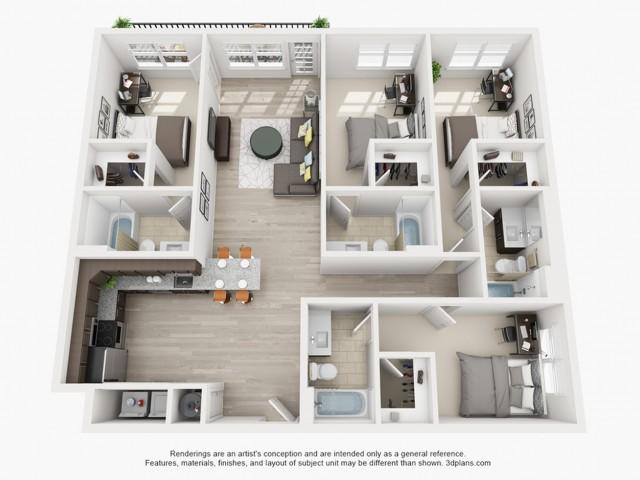 Floor Plan 1 | texas state off campus housing | Vie Lofts at San Marcos