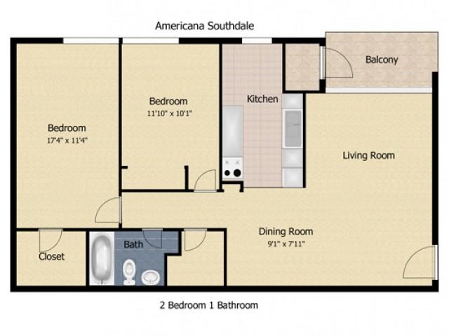 2 Bedroom 1 Bath Deluxe