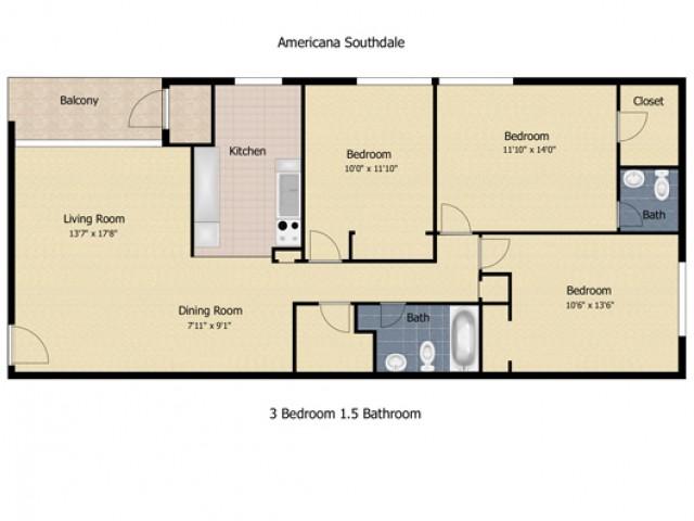 3 Bedroom 1.5 Bath
