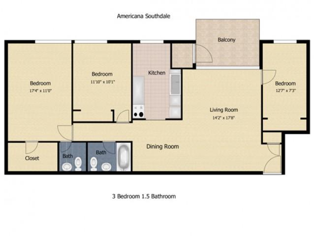 3 Bedroom 1.5 Bath Deluxe